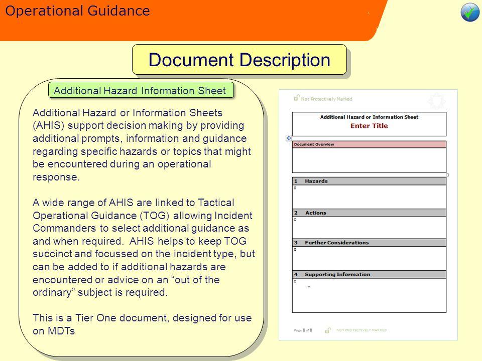 Operational Guidance Additional Hazard Information Sheet