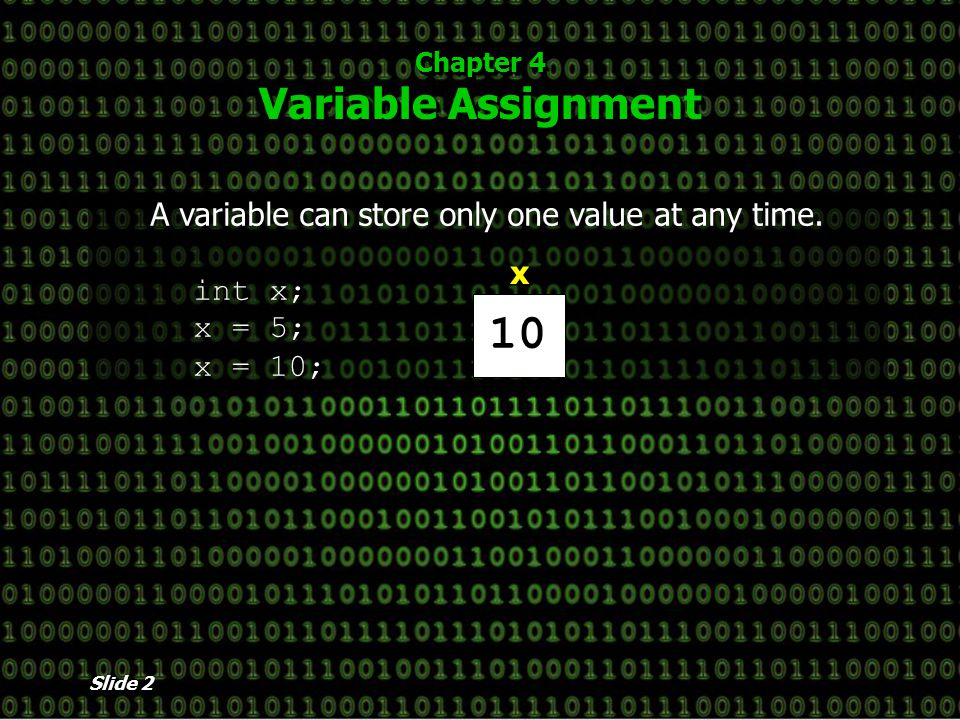 Slide 2 Chapter 4 Variable Assignment A variable can store only one value at any time.