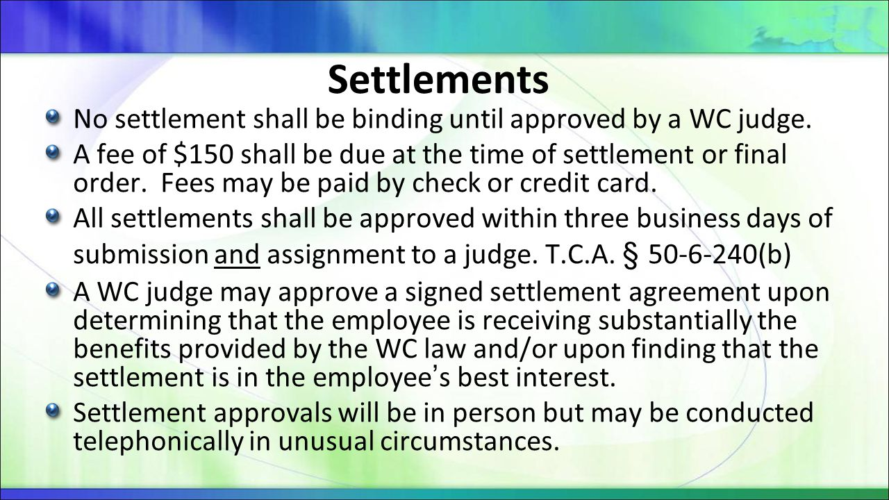 Practical Questions Template for Settlement Orders Mediated Settlement Approvals Murfreesboro Cookeville Non-Mediated Settlement Approvals