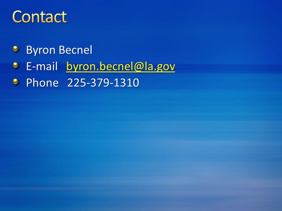 Byron Becnel E-mail byron.becnel@la.gov byron.becnel@la.gov Phone 225-379-1310