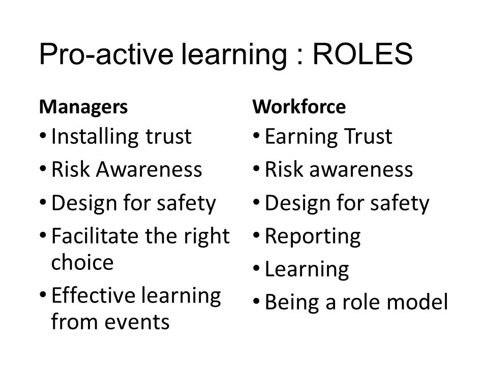 Pro-active learning : ROLES Managers Installing trust Risk Awareness Design for safety Facilitate the right choice Effective learning from events Work