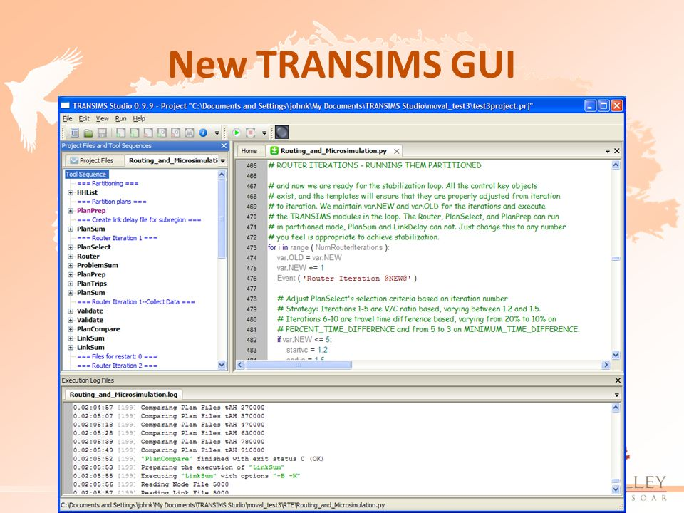 New TRANSIMS GUI
