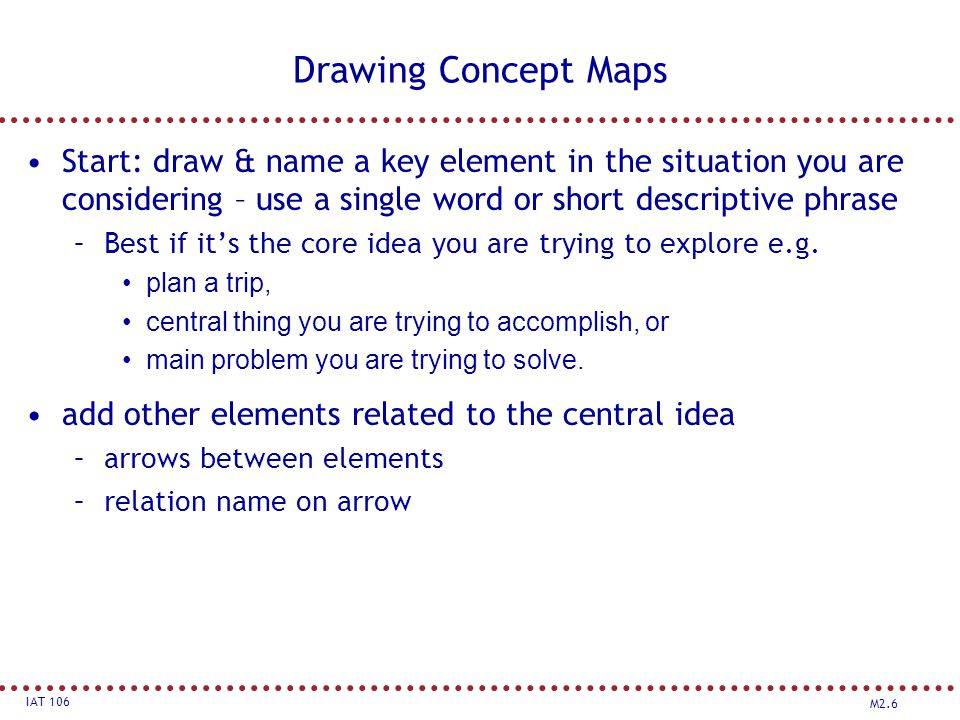 M2.6 IAT 106 Drawing Concept Maps Start: draw & name a key element in the situation you are considering – use a single word or short descriptive phrase –Best if it's the core idea you are trying to explore e.g.