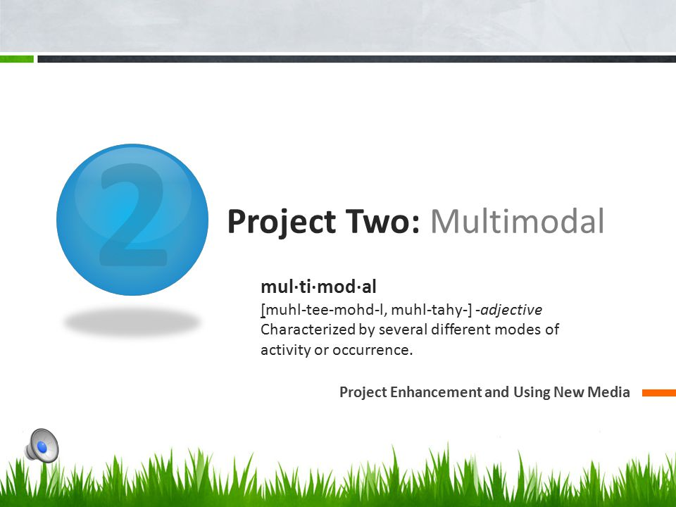 2 Project Two: Multimodal Project Enhancement and Using New Media mul·ti·mod·al [muhl-tee-mohd-l, muhl-tahy-] -adjective Characterized by several different modes of activity or occurrence.