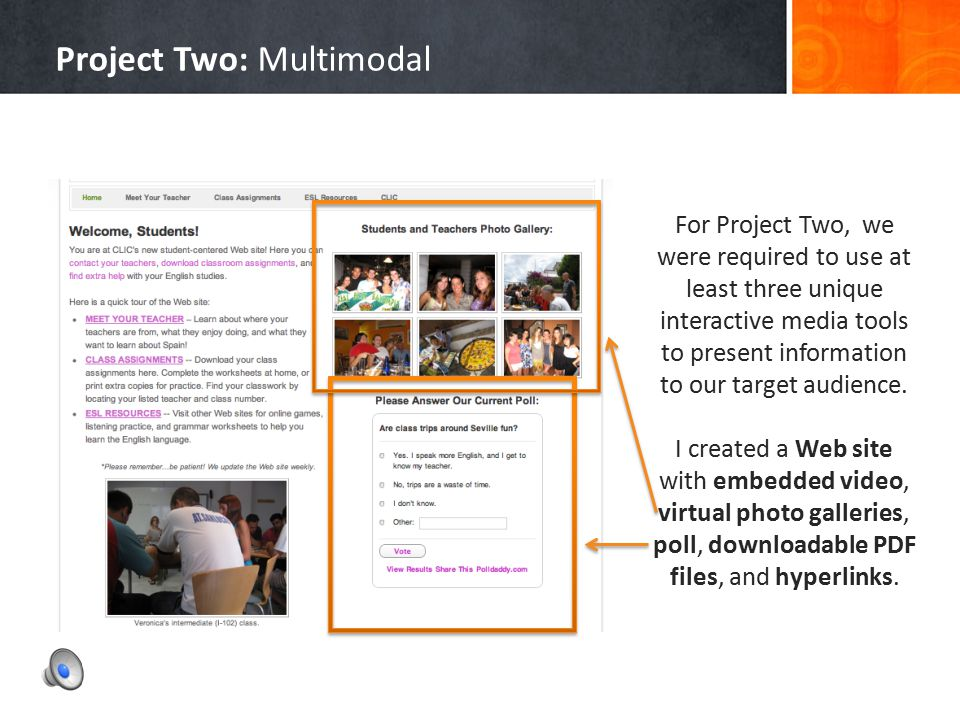 2 Project Two: Multimodal Project Enhancement and Using New Media mul·ti·mod·al [muhl-tee-mohd-l, muhl-tahy-] -adjective Characterized by several diff