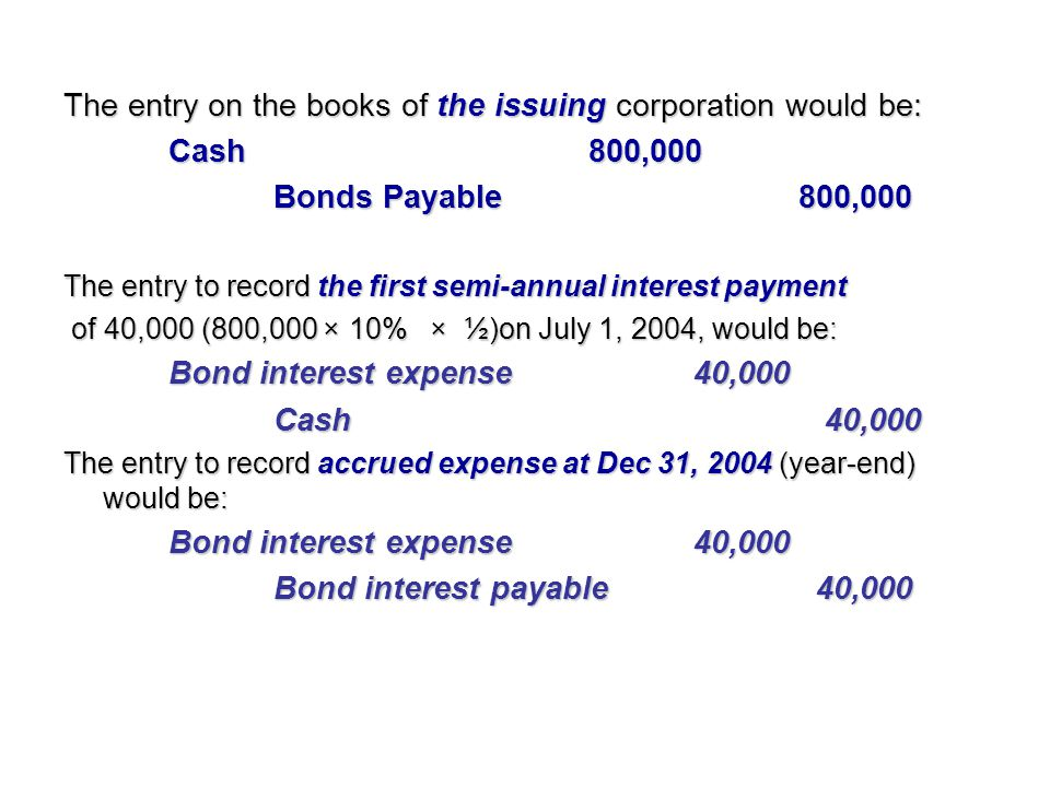 The entry on the books of the issuing corporation would be: Cash800,000 Bonds Payable800,000 The entry to record the first semi-annual interest paymen