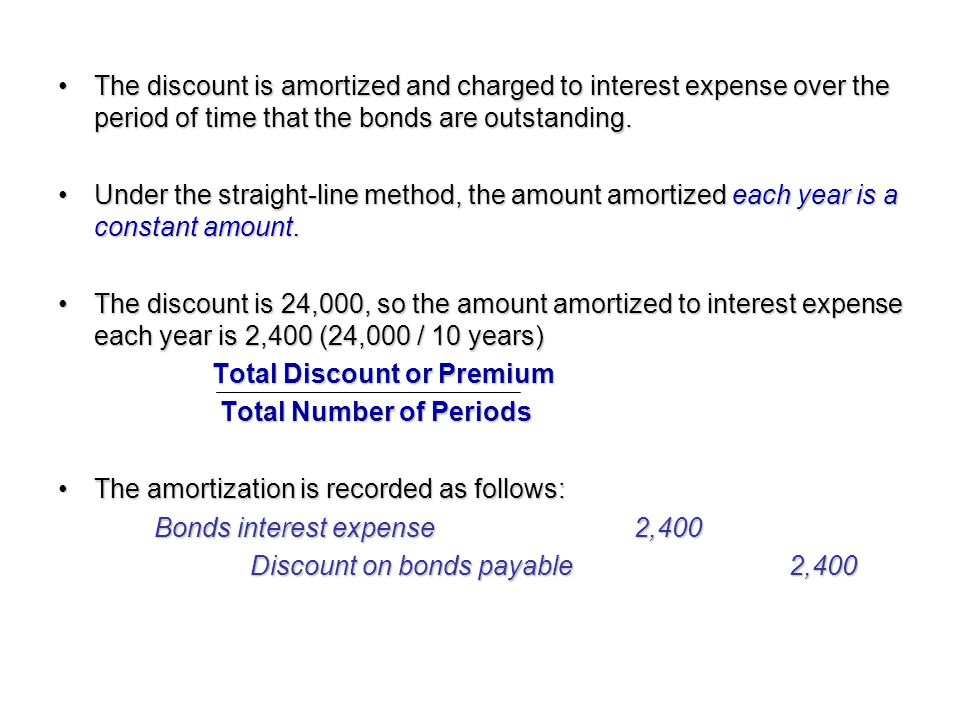 The discount is amortized and charged to interest expense over the period of time that the bonds are outstanding.The discount is amortized and charged