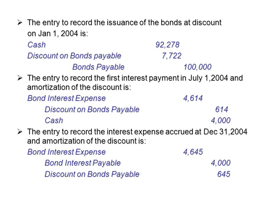  The entry to record the issuance of the bonds at discount on Jan 1, 2004 is: on Jan 1, 2004 is: Cash92,278 Discount on Bonds payable 7,722 Bonds Pay