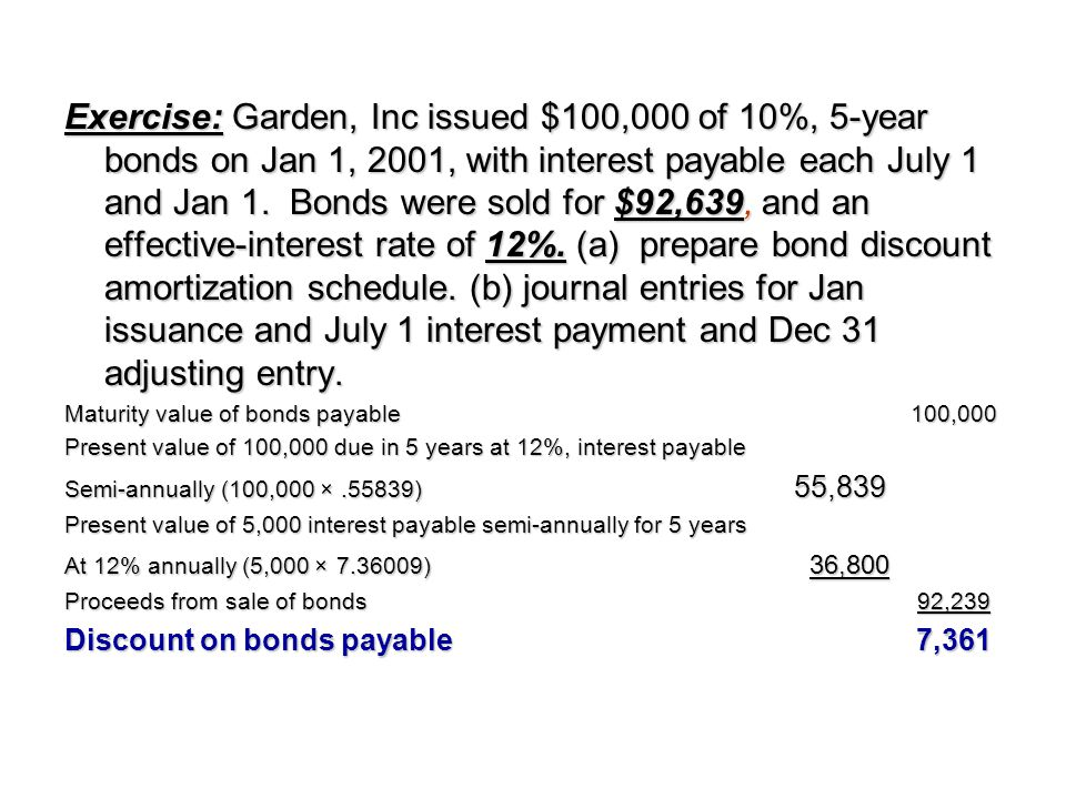 Exercise: Garden, Inc issued $100,000 of 10%, 5-year bonds on Jan 1, 2001, with interest payable each July 1 and Jan 1. Bonds were sold for $92,639, a