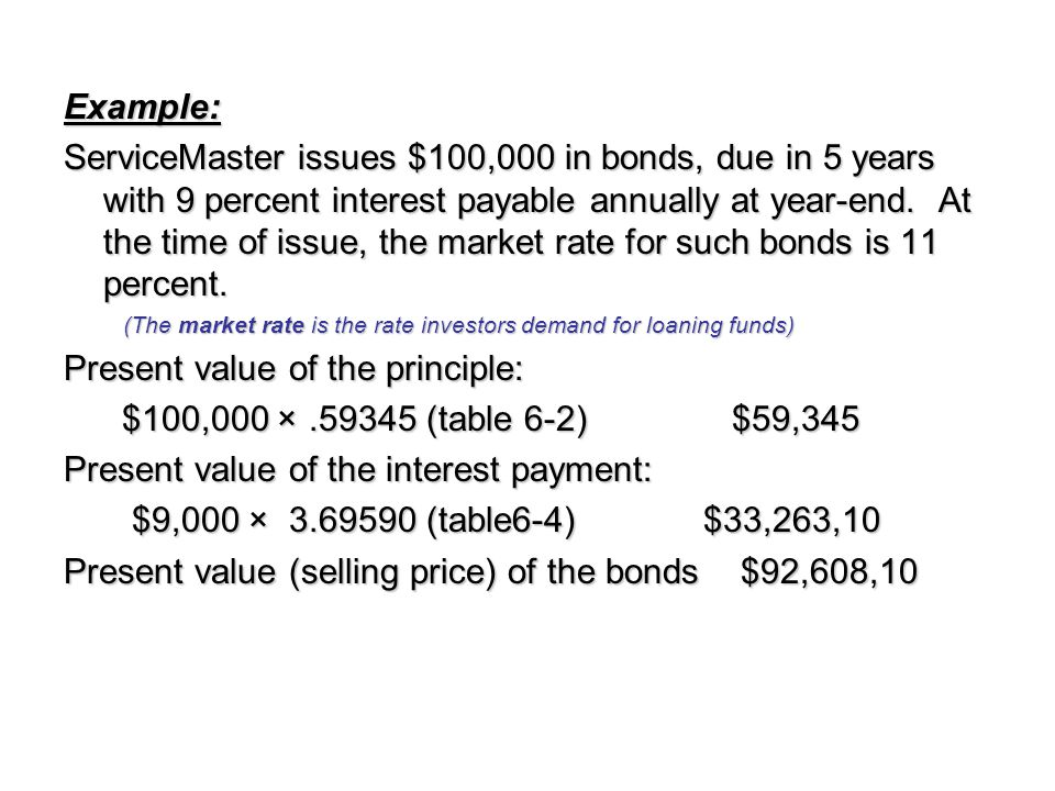 Example: ServiceMaster issues $100,000 in bonds, due in 5 years with 9 percent interest payable annually at year-end. At the time of issue, the market