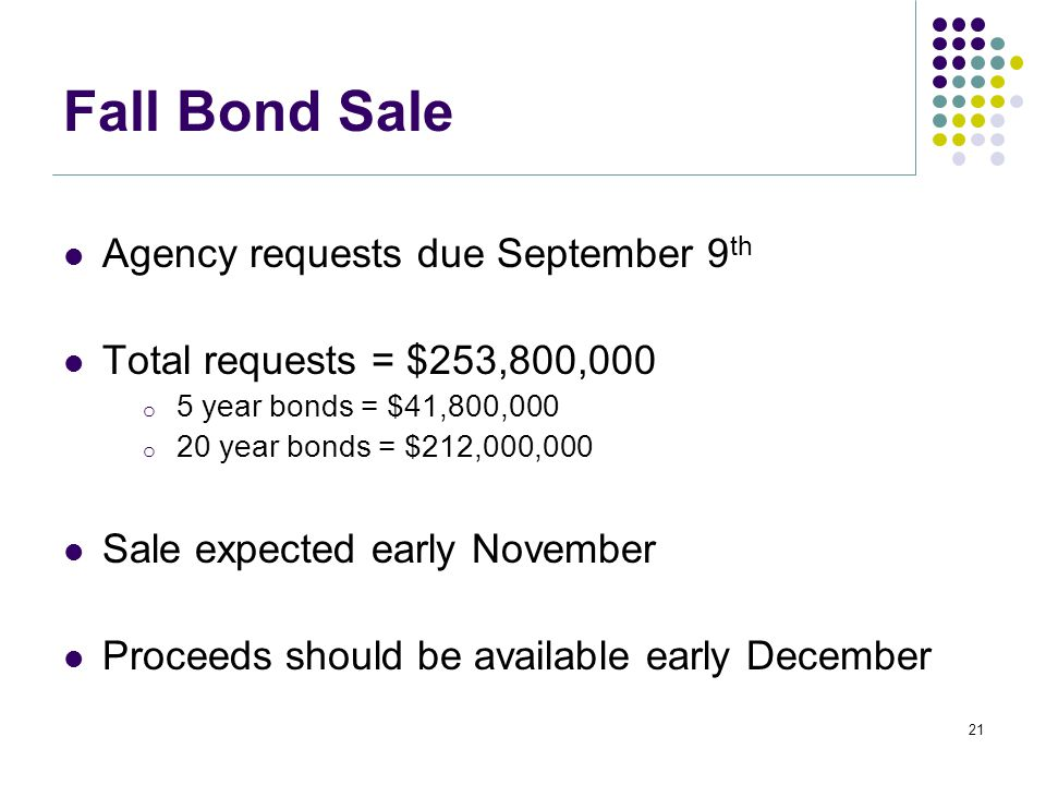 Fall Bond Sale Agency requests due September 9 th Total requests = $253,800,000 o 5 year bonds = $41,800,000 o 20 year bonds = $212,000,000 Sale expected early November Proceeds should be available early December 21