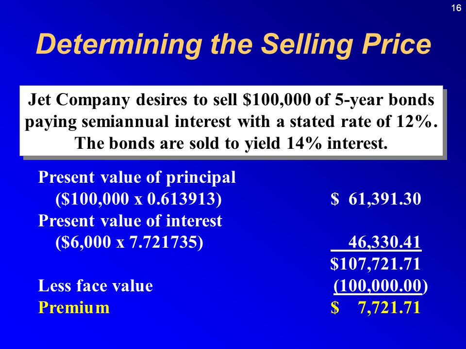 16 Jet Company desires to sell $100,000 of 5-year bonds paying semiannual interest with a stated rate of 12%.