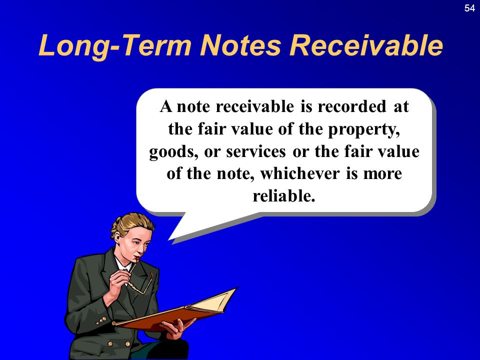 54 A note receivable is recorded at the fair value of the property, goods, or services or the fair value of the note, whichever is more reliable.