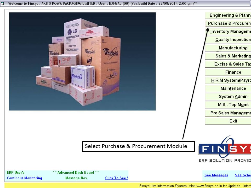 Select Purchase & Procurement Module
