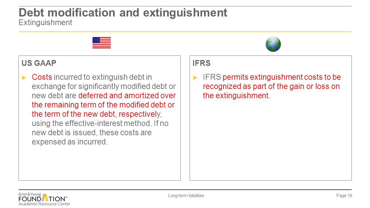 Academic Resource Center Long-term liabilities Page 18 Debt modification and extinguishment Extinguishment IFRS ► IFRS permits extinguishment costs to