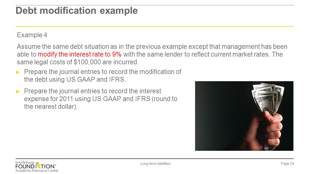 Academic Resource Center Long-term liabilities Page 24 Debt modification example Example 4 Assume the same debt situation as in the previous example e