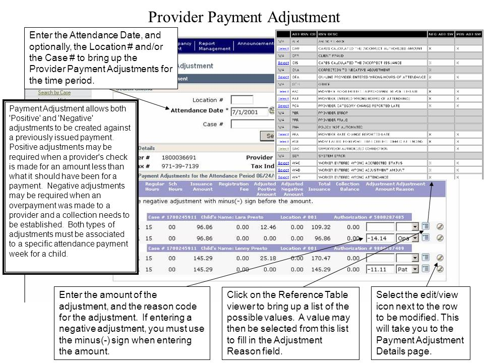 Provider Payment Adjustment Enter the Attendance Date, and optionally, the Location # and/or the Case # to bring up the Provider Payment Adjustments for the time period.