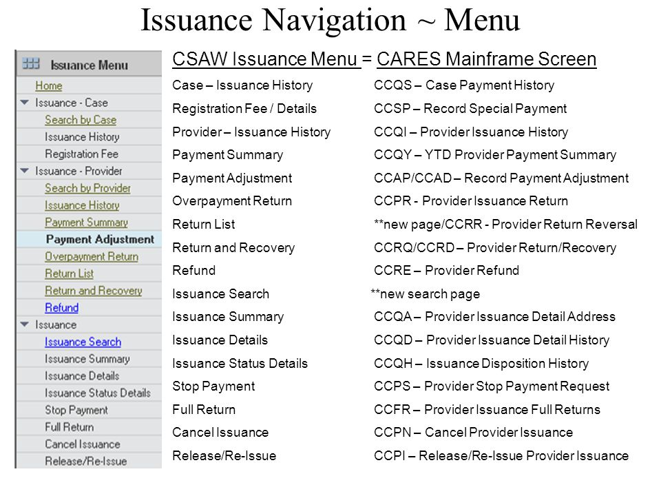 CSAW Issuance Management Home From the home page select from options to search by either case number or provider number to work with the associated issuances.