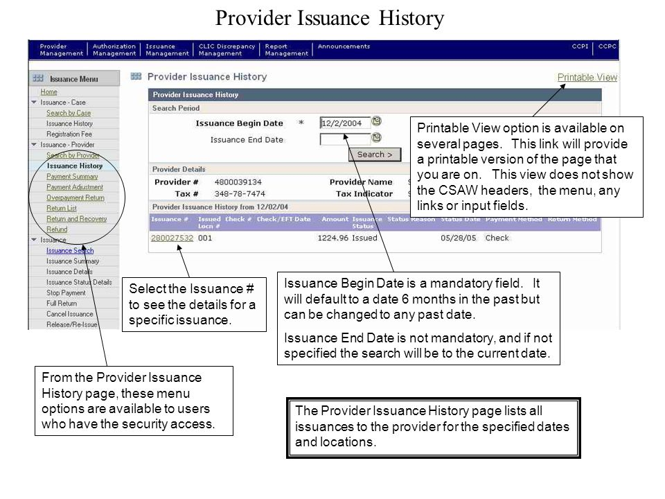 Provider Issuance History Printable View option is available on several pages.