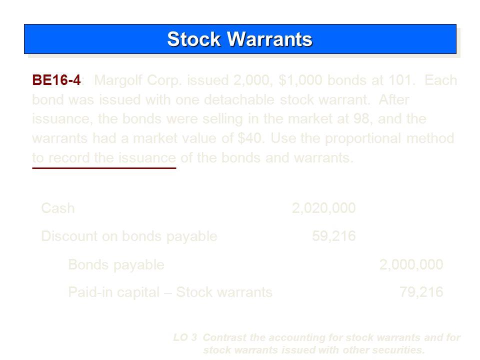 Cash2,020,000 Bonds payable 2,000,000 Discount on bonds payable59,216 Paid-in capital – Stock warrants 79,216 Stock Warrants LO 3 Contrast the account