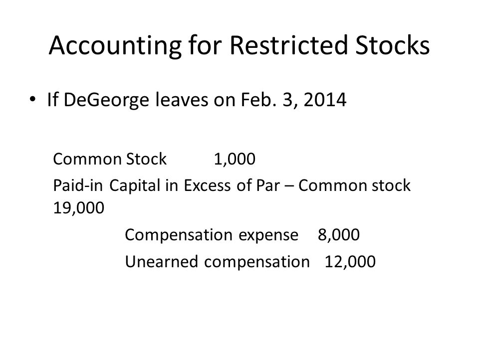 Accounting for Restricted Stocks If DeGeorge leaves on Feb. 3, 2014 Common Stock 1,000 Paid-in Capital in Excess of Par – Common stock 19,000 Compensa