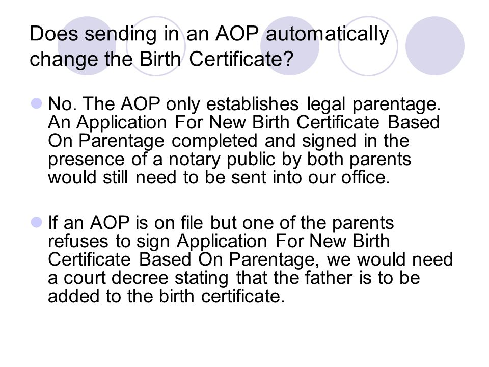 Does sending in an AOP automatically change the Birth Certificate? No. The AOP only establishes legal parentage. An Application For New Birth Certific