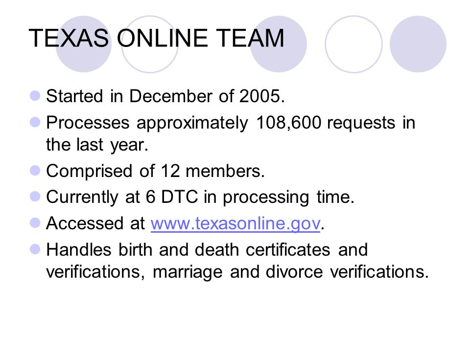 TEXAS ONLINE TEAM Started in December of 2005. Processes approximately 108,600 requests in the last year. Comprised of 12 members. Currently at 6 DTC