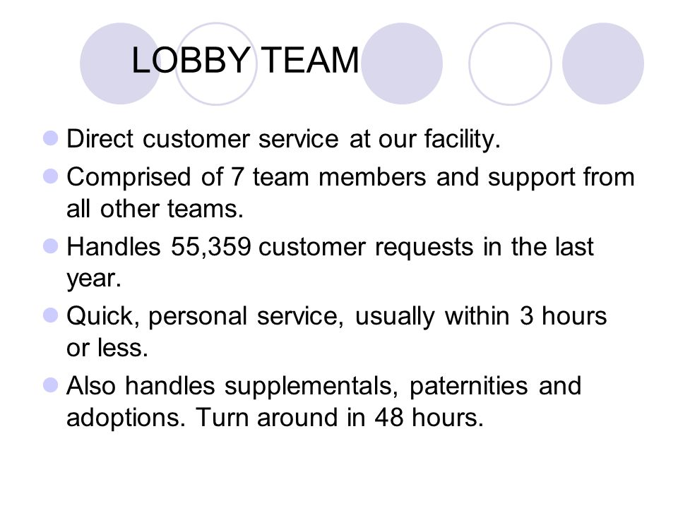 LOBBY TEAM Direct customer service at our facility. Comprised of 7 team members and support from all other teams. Handles 55,359 customer requests in