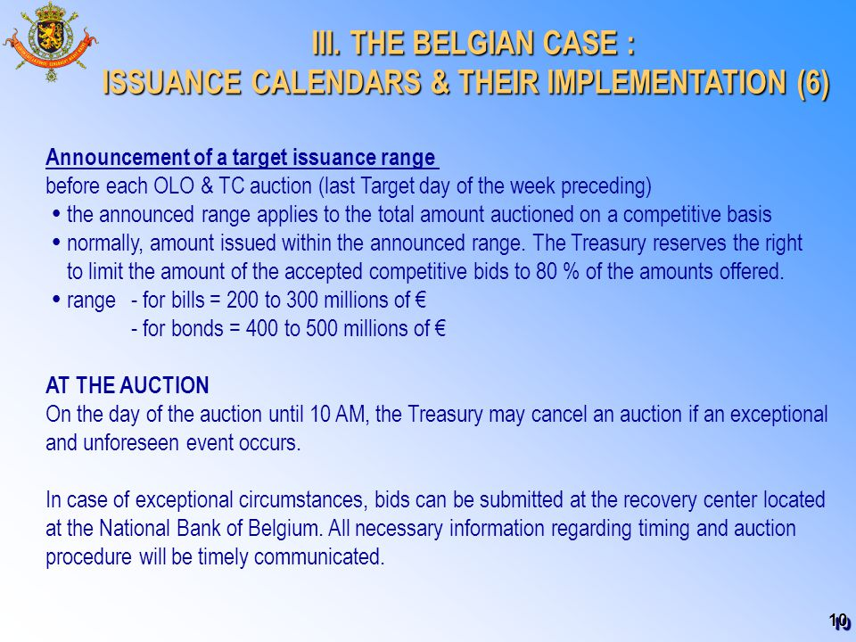 10 III. THE BELGIAN CASE : III. THE BELGIAN CASE : ISSUANCE CALENDARS & THEIR IMPLEMENTATION (6) Announcement of a target issuance range before each O