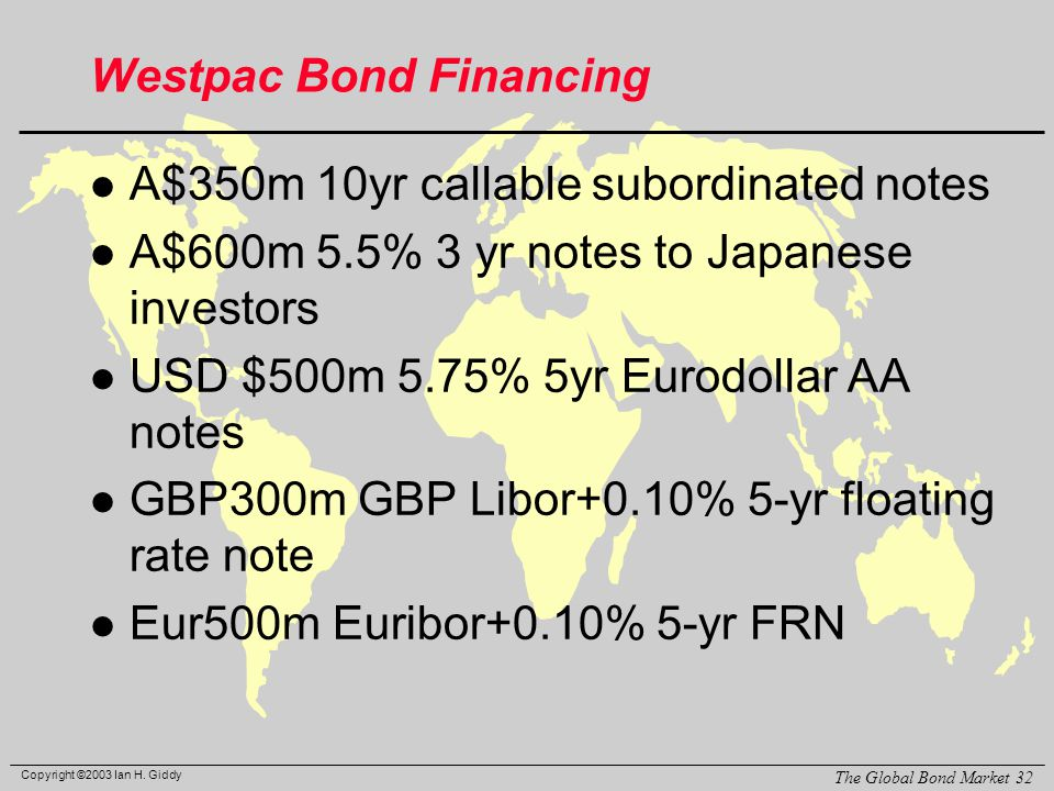 Copyright ©2003 Ian H. Giddy The Global Bond Market 32 Westpac Bond Financing l A$350m 10yr callable subordinated notes l A$600m 5.5% 3 yr notes to Ja