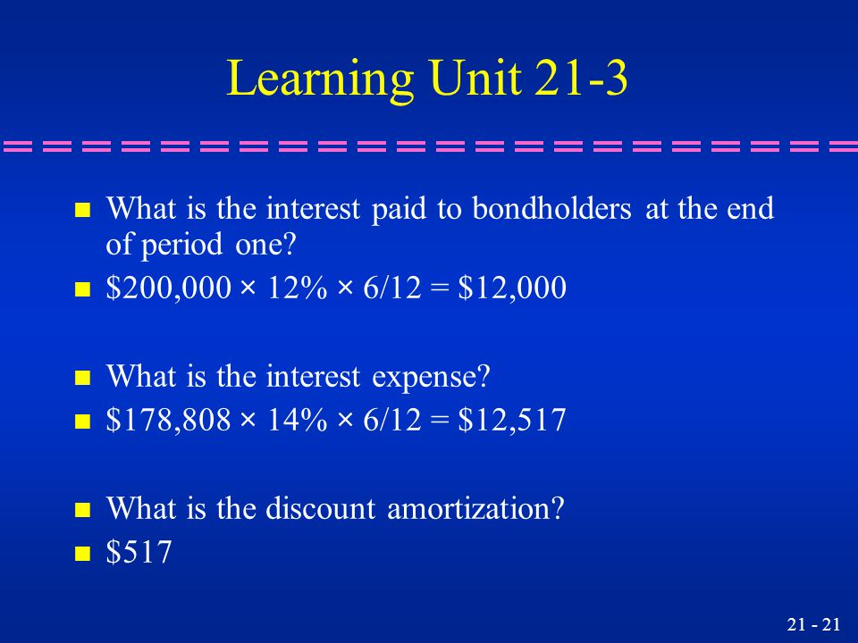 Learning Unit 21-3 n What is the interest paid to bondholders at the end of period one.