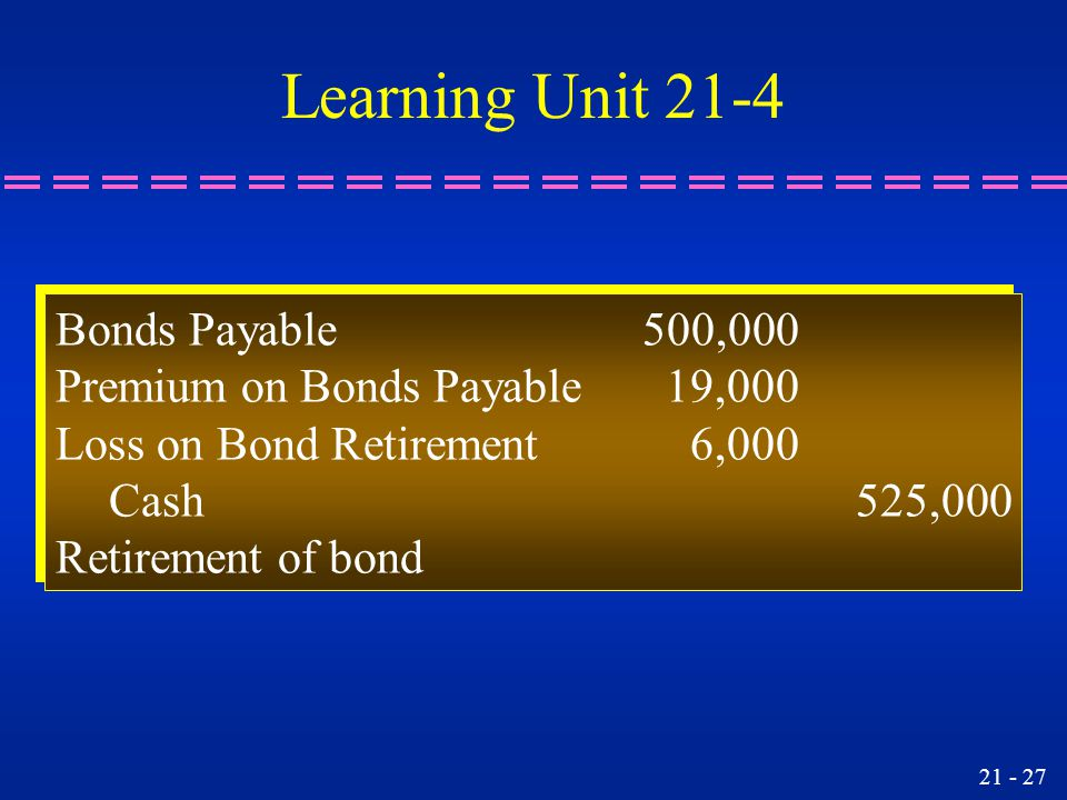21 - 27 Bonds Payable500,000 Premium on Bonds Payable 19,000 Loss on Bond Retirement 6,000 Cash525,000 Retirement of bond Bonds Payable500,000 Premium on Bonds Payable 19,000 Loss on Bond Retirement 6,000 Cash525,000 Retirement of bond Learning Unit 21-4