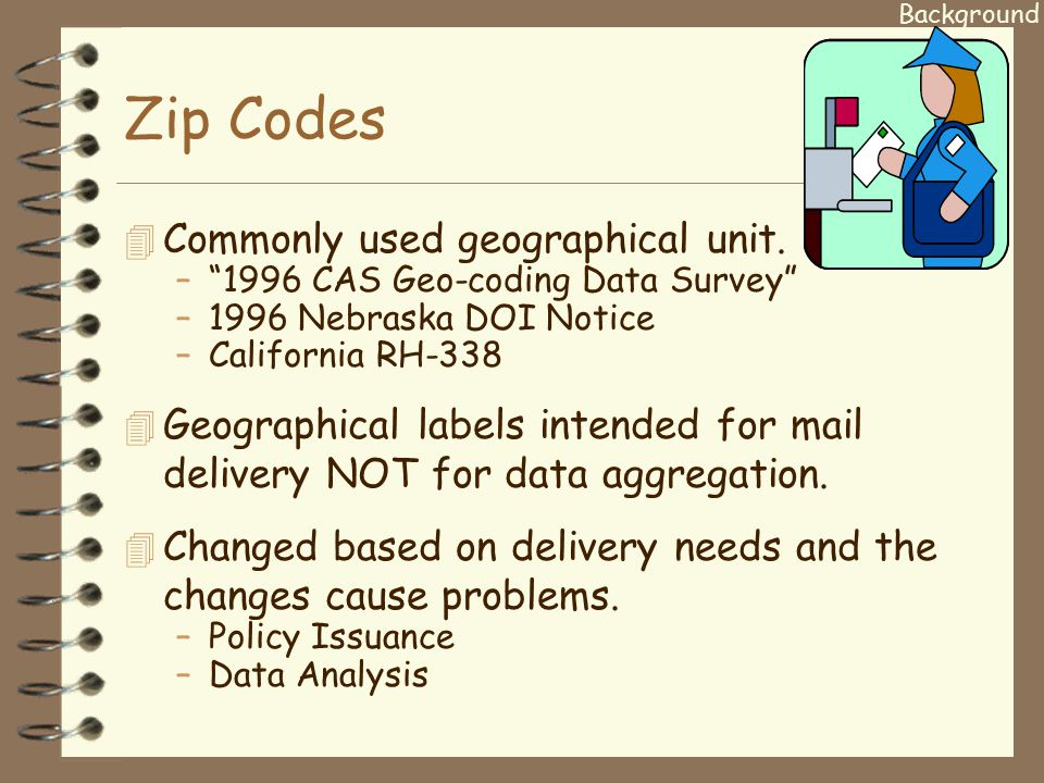 Zip Codes 4 Commonly used geographical unit.