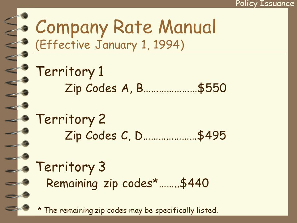 Company Rate Manual (Effective January 1, 1994) Territory 1 Zip Codes A, B…………………$550 Territory 2 Zip Codes C, D…………………$495 Territory 3 Remaining zip codes*……..$440 * The remaining zip codes may be specifically listed.