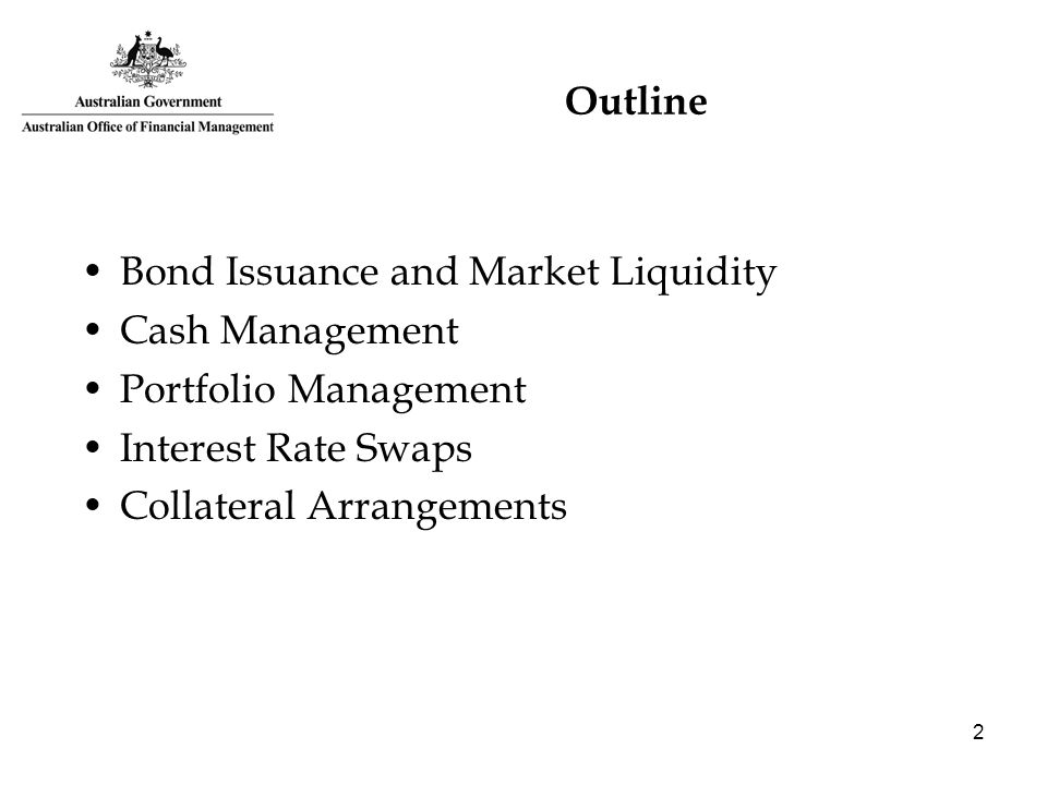 2 Outline Bond Issuance and Market Liquidity Cash Management Portfolio Management Interest Rate Swaps Collateral Arrangements