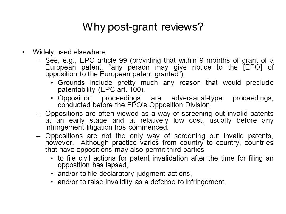 Why post-grant reviews.