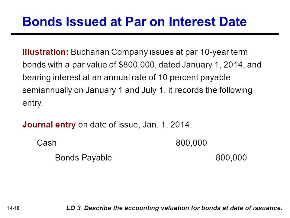 14-18 Illustration: Buchanan Company issues at par 10-year term bonds with a par value of $800,000, dated January 1, 2014, and bearing interest at an