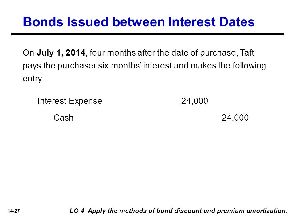 14-27 On July 1, 2014, four months after the date of purchase, Taft pays the purchaser six months' interest and makes the following entry. Bonds Issue