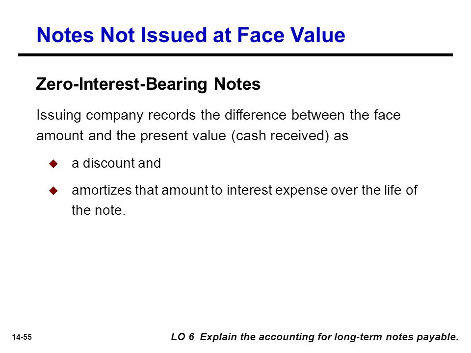 14-55 Notes Not Issued at Face Value Issuing company records the difference between the face amount and the present value (cash received) as  a disco