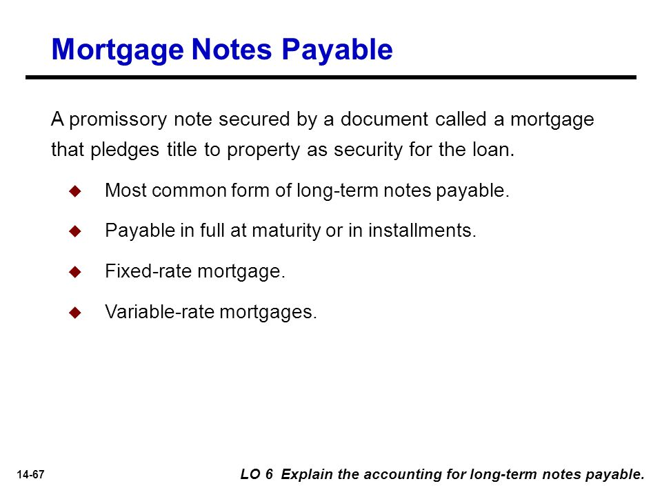 14-67 A promissory note secured by a document called a mortgage that pledges title to property as security for the loan. Mortgage Notes Payable LO 6 E