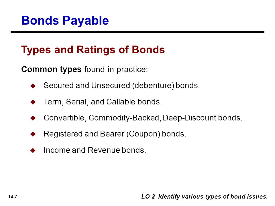 14-7 LO 2 Identify various types of bond issues. Common types found in practice:  Secured and Unsecured (debenture) bonds.  Term, Serial, and Callab