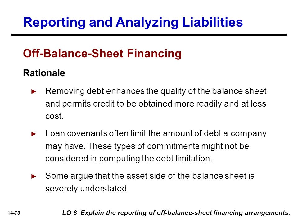 14-73 Reporting and Analyzing Liabilities LO 8 Explain the reporting of off-balance-sheet financing arrangements. Rationale ► Removing debt enhances t