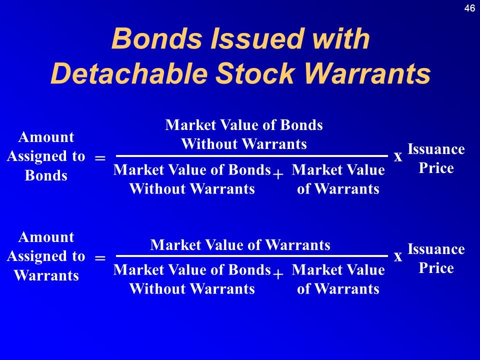 46 Amount Assigned to Bonds = Market Value of Bonds Without Warrants + Market Value of Warrants Issuance Price x Amount Assigned to Warrants = Market Value of Warrants Market Value of Bonds Without Warrants + Market Value of Warrants Issuance Price x Bonds Issued with Detachable Stock Warrants
