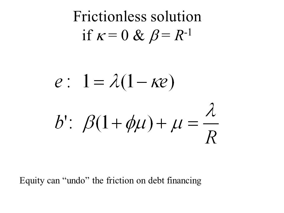 Frictionless solution if  = 0 &  = R -1 Equity can undo the friction on debt financing