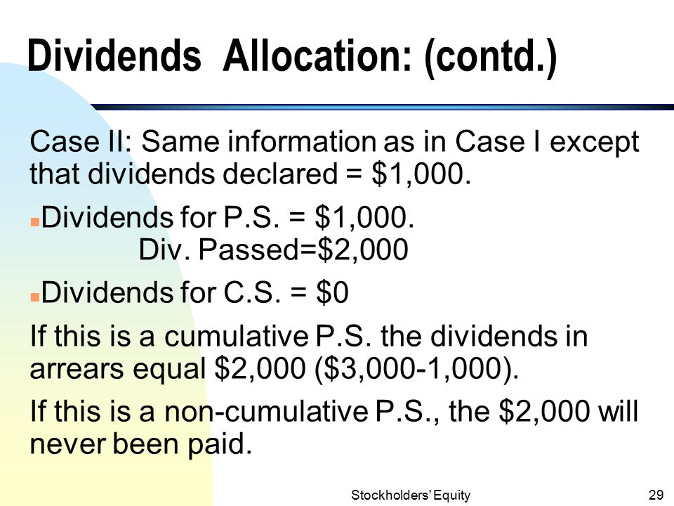 Stockholders Equity28 Dividends Allocation: Examples Year 1: Case I: Dividends declared = $10,000 Com.