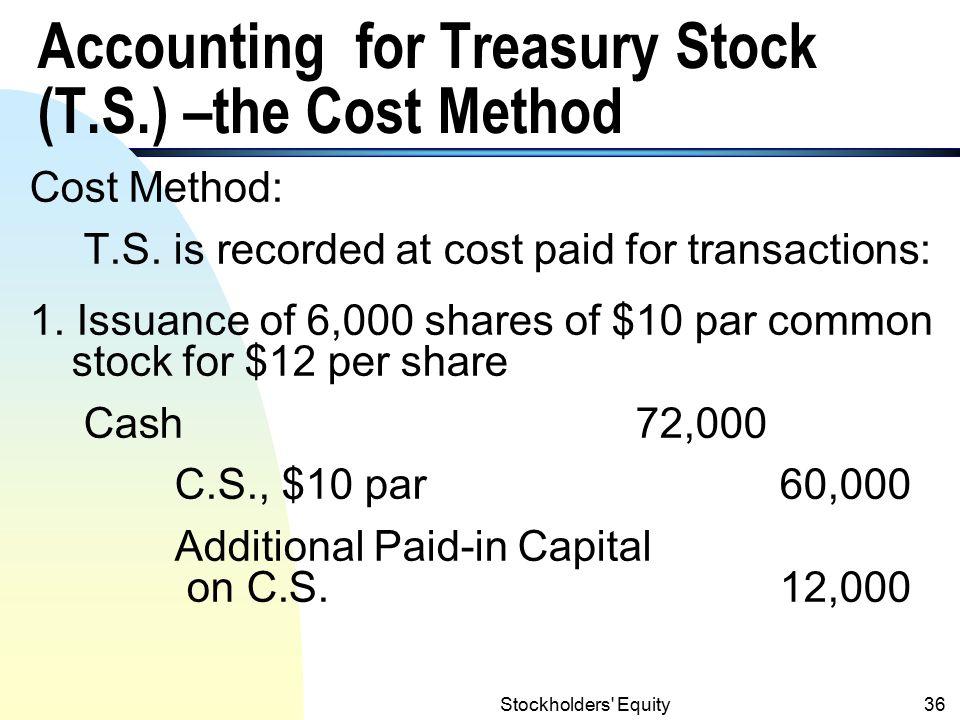 Stockholders Equity35 Treasury Stock (contd.) Reasons of acquiring treasury stock: 1.
