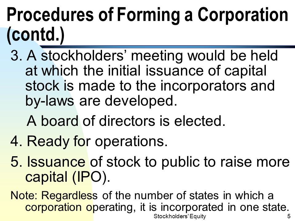 Stockholders Equity4 Procedures of Forming a Corporation 1.