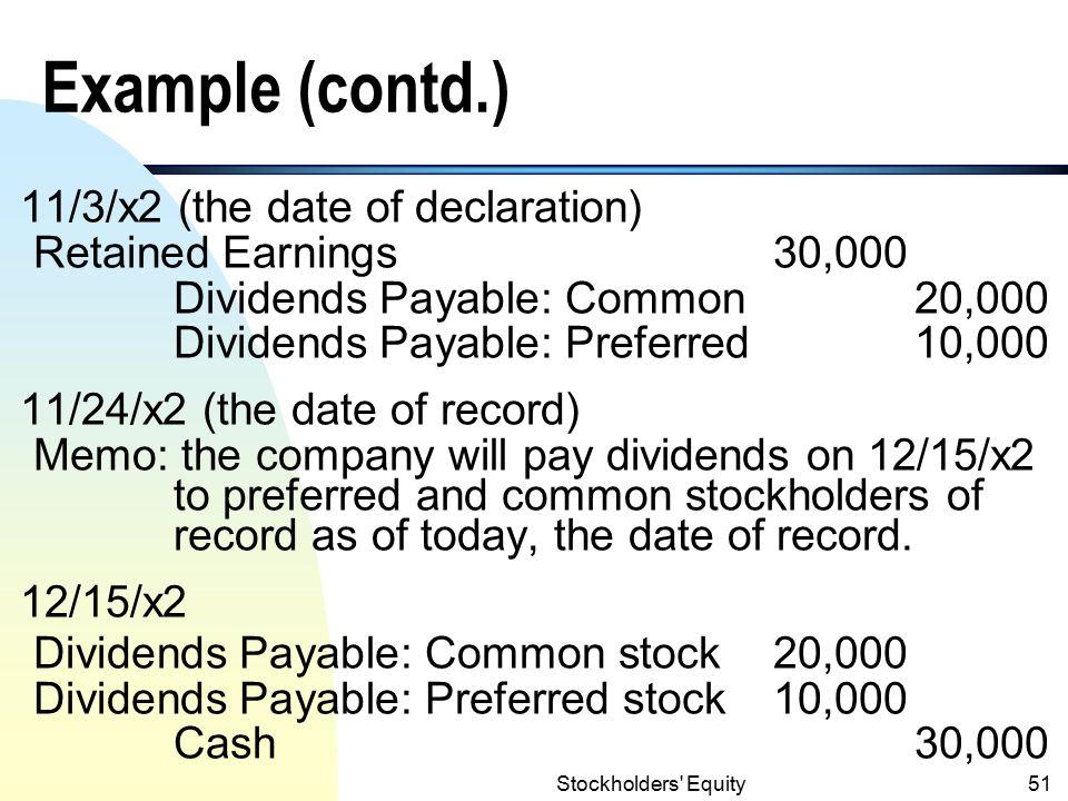 Stockholders Equity50 Example n On Nov.