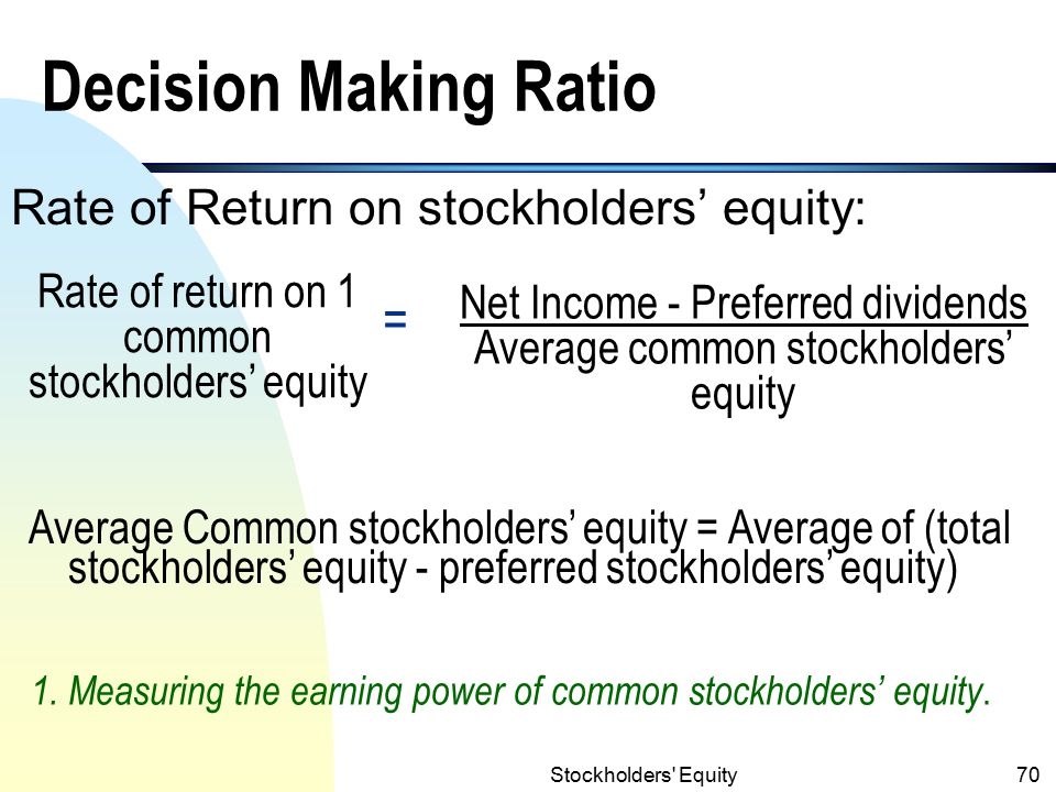 Stockholders Equity69 Different Values of Stock (contd.) 4.Book value (BV): the amount of stockholders' equity for per share of stock.