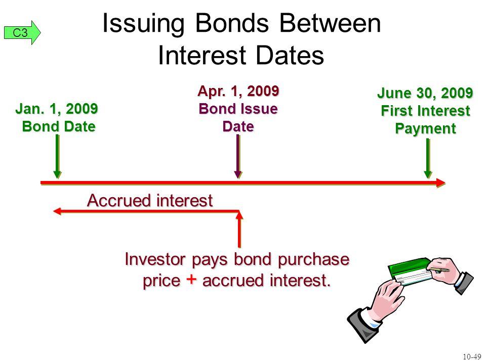 Accrued interest Investor pays bond purchase price + accrued interest. Jan. 1, 2009 Bond Date Apr. 1, 2009 Bond Issue Date June 30, 2009 First Interes